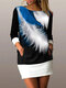 Casual Feather Print Patchwork Plus Size Mini Dress with Pockets - Blue