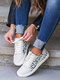 Women Casual Lace-up Leopard Patchwork Suede Antiskid Skate Shoes - White