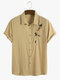 Designer Mens 100% Cotton Breathable Embroidered Bee Flower CasualShirts - Khaki