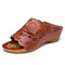 SOCOFY Retro Leather Flower Decro Cutout Open Toe Mules Wedge Sandals - Brown