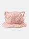 Frauen Lammwolle Cartoon Katze Ohrform Dekor Verdicken Warm Thermal Hut Eimer Hut - Hell-Pink