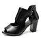 Women Lady Peep Toe Hollow Zipper High Chunky Heel Sandals - Black