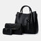 Women 3Pcs Tassel Multi-function Handbag Crossbody Bag  - Black