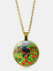 Vintage Glass Printed Women Necklace Rose Black Cat Pendant Sweater Chain Jewelry Gift - Bronze