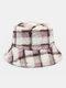 Women Lamb Fur Contrast Color Warm Casual Couple Hat Bucket Hat - Purple