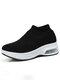 Women Air Cushion Antiskid Mesh Breathable Running Shoes - Black