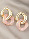 Brief Holiday Color Contrast Patchwork Chain-shape Acrylic Earrings - #02