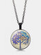 Vintage Glass Printed Women Necklace Tree Of Life Clavicle Chain Pendant Jewelry - Black