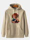 Mens Halloween Kid Chest Print Solid Casual Loose Hoodies With Kangaroo Pocket - Apricot