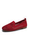 Women Solid Mesh Hollow Out Stitching Shoes Comfy Soft Rhinestone Flats - Claret