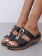 Large Size Women Casual Beach Holiday Comfy Rhinestone Decor Slippers - Black