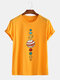 Mens Colorful Planet Printed Cotton Casual Round Neck T-shirts - Yellow