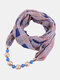 Vintage Chiffon Women Scarf Necklace Beaded Pendant Lattice Flowers Pattern Silk Scarf - #19