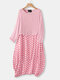 Casual Polka Dot Patchwork Two Pieces Plus Size Maxi Dress - Pink