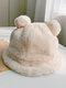 Women Faux Rabbit Fur Warm Soft Cute Casual All-match Animal Ear Pattern Bucket Hat - #09