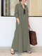 Solid Color Pocket Button Long SLeeve Casual Dress for Women - Army green