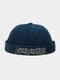 Unisex Cotton Solid Color Letter Embroidery Adjustable Drawstring Versatile Brimless Beanie Landlord Cap Skull Cap - Blue