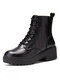 Women Solid Color Elegant Marble Pattern Casual Chunky Heel Short Boots - Black
