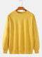 Mens 13 Colors Solid Color Basic Cotton Crew Neck Pullover Sweatshirts - Yellow