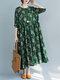 Flower Print Long Sleeve Loose O-neck Pocket Vintage Dress - Green
