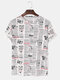 Mens Fun Character Newspaper Loose Breathable T-shirt - White