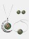 3 Pcs Printed Men Women Jewelry Set Wearing Garland Hollow Half Moon Necklace Bracelet Earring - #09