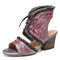 SOCOFY Distressed Leather Embossed Floral Fringed Cutout Lace-up Block Heel Sandals - Grey