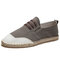 Men Canvas Splicing Breathable Hand Stitching Casual Fisherman Shoes - Brown