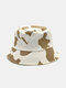 Women Cotton Color Contrast Cow Pattern Printing Fashion All-match Sunscreen Bucket Hat - Khaki