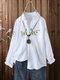 Botão de bordado de flores frontal Plus tamanho manga comprida Camisa - Branco