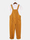 Mens Corduroy Solid Color Casual Button Overalls Jumpsuits With Pockets - Yellow