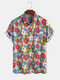 100% Cotton Colorful Daisy Printed Lapel Casual Holiday  Shirt For Men Women - Blue