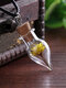 Vintage DIY Dried Flowers Women Necklace Small Daisy Drop-Shaped Drift Bottle Pendant Necklace - Yellow