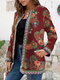 Ethnic Style Floral Print Plus Size Jackets - Wine Red