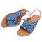 Plus Size Women Casual Open Toe Denim Slingback Buckle Flat Sandals - Blue
