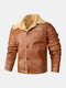 Mens Faux Shearling Lapel Button Up Warm PU Jackets With Pockets - Khaki