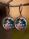 Vintage Glass Gemstone Dangle Earrings plant Flower Pattern Women Pendant Earrings Jewelry - #06