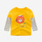 Boy's Cartoon Print Striped Patchwork Casual T-shirt For 2-10Y - Yellow