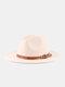 Unisex Woolen Felt Solid Color Rivet Buckle Strap Decoration Thicken Flat Brim Top Hat Fedora Hat - Beige