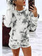 Tie-dyed Print Long Sleeves O-neck Tops+Shorts Casual Set For Women - Gray