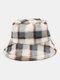 Women Lamb Fur Contrast Color Warm Casual Couple Hat Bucket Hat - Gray