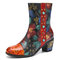 SOCOFY Retro Flowers Embossed Genuine Leather Beading Warm Lined Chunky Heel Casual Winter Short Boots - Camel