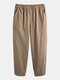 Mens Breathable Lightweight 100% Cotton Multi Pockets Casual Yoga Pants - Beige