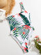Women Tropical Leaf Print High Fork Knotted One Shoulder Holiday Swimsuit - White