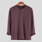 Mens Brief Style Solid Color Breathable Casual Long Sleeve Henley Shirts - Red