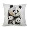 Acuarela Panda Impresión de lino Funda de cojín de algodón Sofá para el hogar Coche Funda de cojín Fundas de almohada