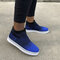 Women's Large Size Slip On Knitted  Casual Trainers Shoes - Blue