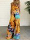 Ethnic Print Straps Wide Leg Pockets Jumpsuit For Women - Yellow
