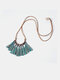 Bohemian Cotton Thread Tassel Long Necklace - #04