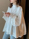 Solid Color Knotted Pleated Long Sleeve Ruffle Blouse for Women - White